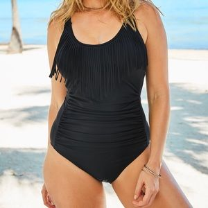 Swimsuits For All NWT Black Fringe One-Piece, 20